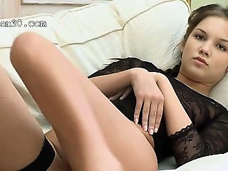Petite 18yo girl finger herself on bed