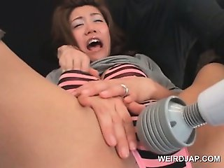 Teen asian gets tits and cunt vibed in a funny sex game
