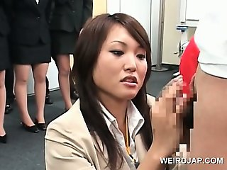 Teen japanese girl showing dick rubbing skills at sex seminar