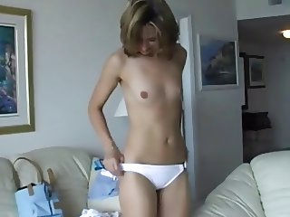 Hot Teen Melissa strips for a horny old Dude