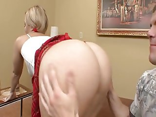 A Texas blonde student gets fucked and swallows cum