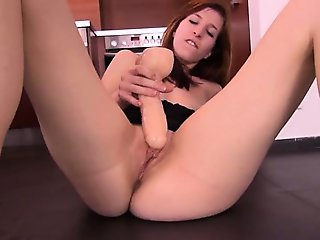 Brutal toy inserted in her czech pussy