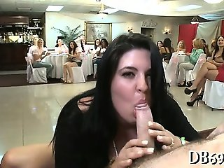 Girls sucks dick and gets cum all