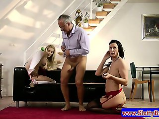 Amateur in trio riding on cock