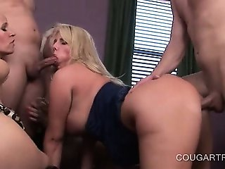 Hot cougars get wet pussies smashed hard in 5some