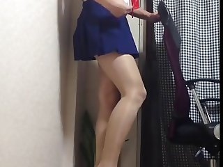 shiny pantyhose crossdresser cd tv