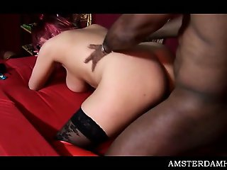 Chesty Amsterdam slut jumping dick and fucking hard