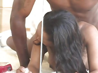 Black bitch banged on the floor