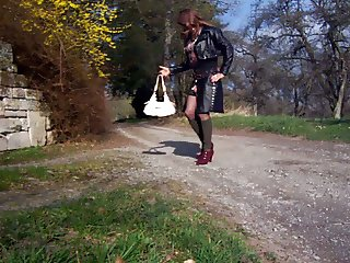 Show my horny ass outdoor in new leather clothes