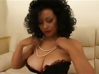 Ebony with juicy boobs interracial.