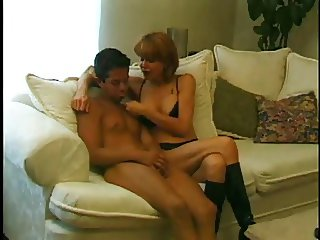 Mature woman Strapon young man