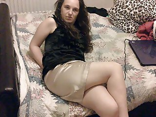 wife in satin skirt