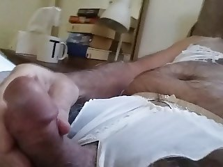 cd crossdresser panty and lingerie wank in bed