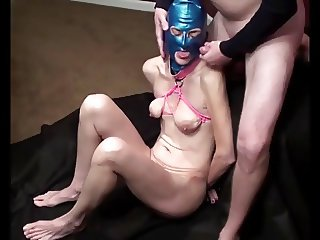 masked tied milf wife sucking cock