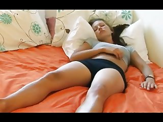 Good looking brunette rubs her pussy to orgasm