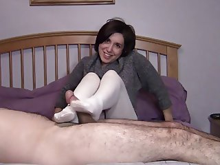 White cable knit tights footjob & blowjob. (Preview)