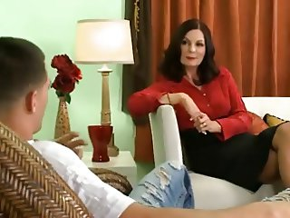 Mature psychologist fucks her young patient