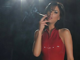 Mistress Ella Mai 120s smoking POV domination in latex