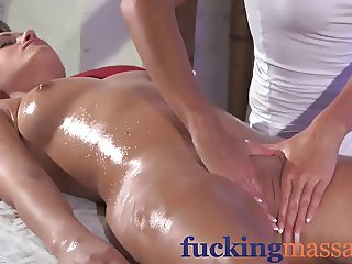 Massage Rooms Clit rub for her orgasm with masseuse