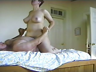 Big white mature tits riding