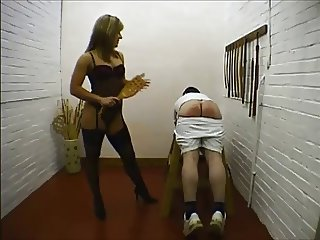 Naughty Schoolboy gets Paddled & Caned by Hot Female Teacher