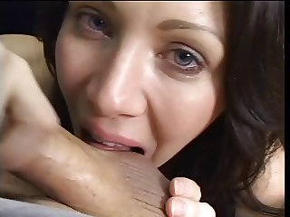 Brunette licks and sucks balls during blowjob