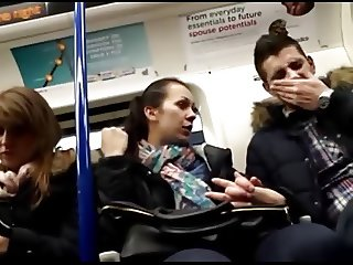 Women check out guys crotch bulge on train