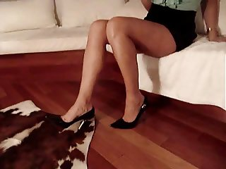 He Cums On Her Sexy Black High Heels & Tan Legs