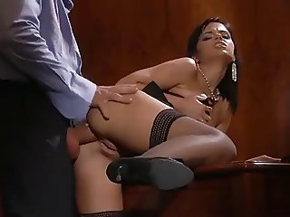 Hot babe Angelica gets anal fucked in office