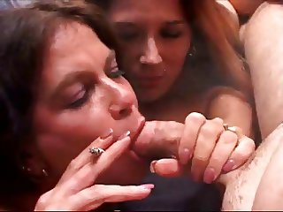 Hot Amateur Cougars Tag Team Smoking BJ