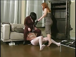 2 mature ladies catch a voyeur & spank his ass