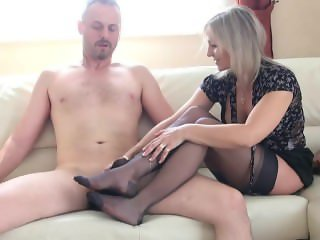 Mature queen amazing nylon footjob