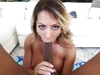 Capri Cavanni sucks humongous black sausage in POV