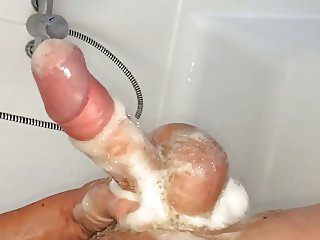 Just me cleaning my cock soapy shower wank