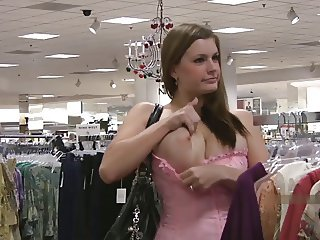 sexy busty danielle & girlfriend flashing in public store