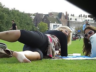 Filmer Caught In The Act- Candid Soles in the Park Feet