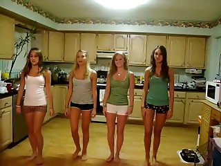 Four fresh teens dancing with shorts