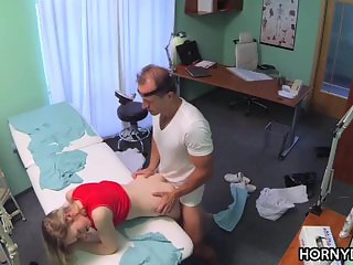 Blonde patient fucks for hospital job