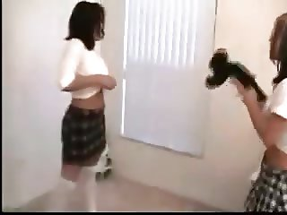 schoolgirls catfight facesitting skirt