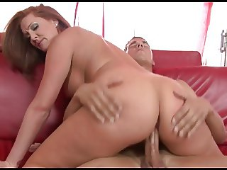 Hungry cougar is sliding on young guys pole