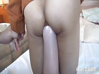 Asian girl giant anal dildo penetrations