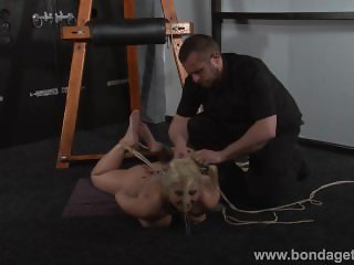 German rope slut Melanie Moons hogtied bondage and restrained busty sub