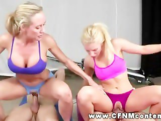CFNM gym babes fucking yoga partners