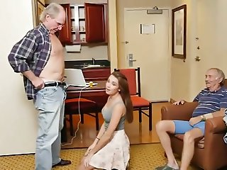 Teenage lisa  fucked by 2 senior