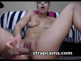 Wild Hottie With Oiled Ass Deep Dildo Riding