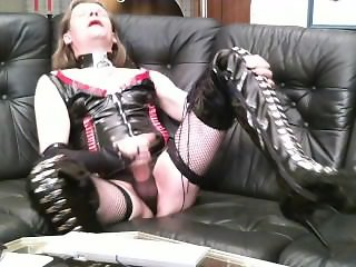 Heelboycd in thigh heels and corset