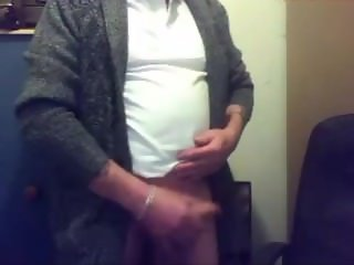 Old guy showing off his grandpa cock