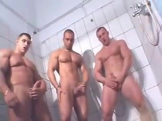 3 Bodybuilders Jerk Off in Gym Shower