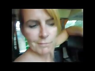 Mature sucking cock in the bus