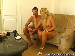 Blonde Dutch MILF Couch Sex